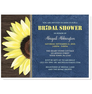 Rustic Sunflower with Blue Bridal Shower Invitations - Artistically Invited