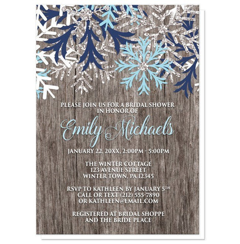 Rustic Winter Wood Navy Aqua Snowflake Bridal Shower Invitations - Artistically Invited