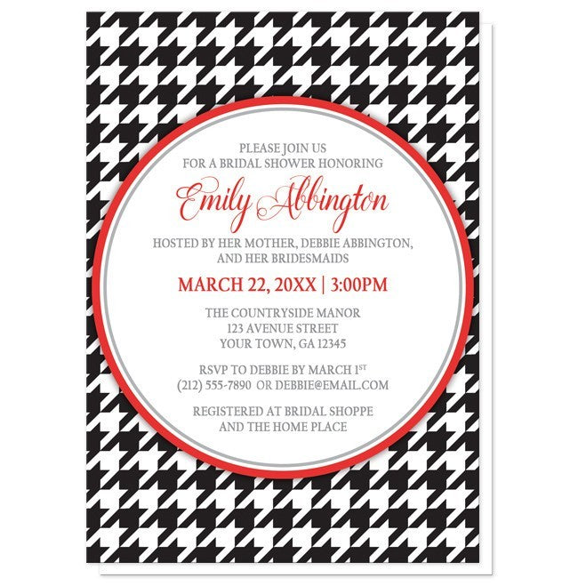 Stylish Black Houndstooth Red Bridal Shower Invitations - Artistically Invited