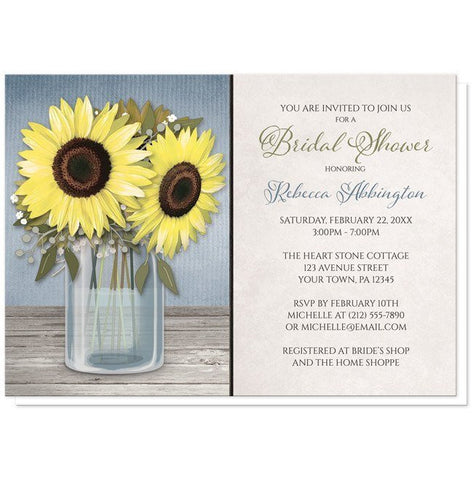 Sunflower Blue Mason Jar Rustic Bridal Shower Invitations - Artistically Invited
