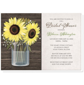 Sunflower Wood Mason Jar Rustic Bridal Shower Invitations - Artistically Invited