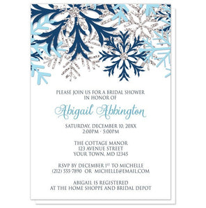 Winter Blue Silver Snowflake Bridal Shower Invitations at Artistically Invited