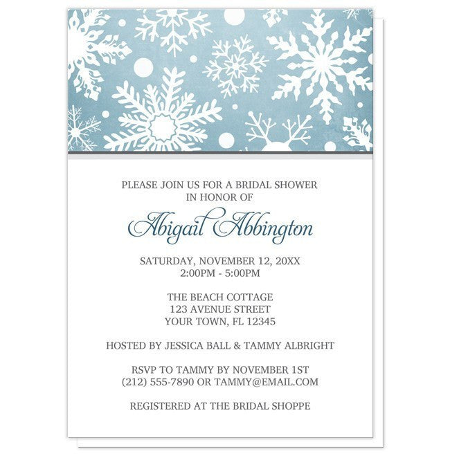 Winter Snowflake Blue Gray Bridal Shower Invitations - Artistically Invited