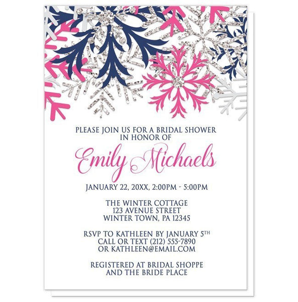 Winter Snowflake Navy Fuchsia Bridal Shower Invitations - Artistically Invited