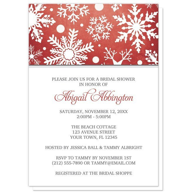 Winter Snowflake Red Gray Bridal Shower Invitations - Artistically Invited