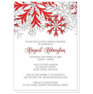 Winter Snowflake Red Silver Bridal Shower Invitations - Artistically Invited