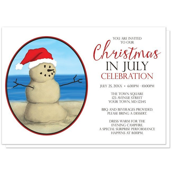 Sand Snowman Christmas in July Invitations - Artistically Invited