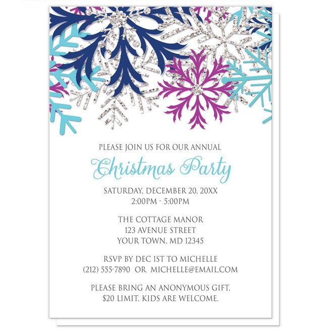 Christmas Invitations.Turquoise Navy Orchid Silver Snowflake Christmas Invitations