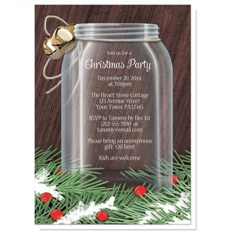 Winter Pine Boughs Mason Jar Christmas Party Invitations - Artistically Invited