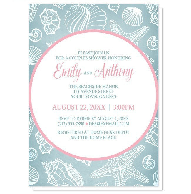 Blue Seashell Pink Beach Couples Shower Invitations at  Artistically Invited