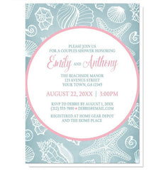 Blue Seashell Pink Beach Couples Shower Invitations