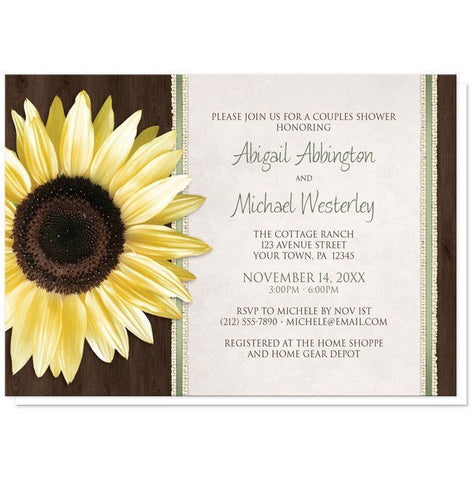 Country Sunflower Wood Brown Green Couples Shower Invitations - Artistically Invited