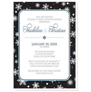 Midnight Snowflake Winter Couples Shower Invitations - Artistically Invited