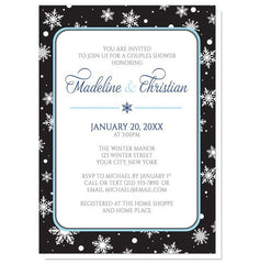 Couples Shower Invitations - Midnight Snowflake Winter
