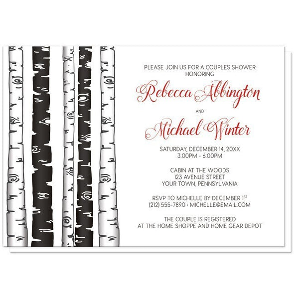 Monochrome Birch Tree with Red Couples Shower Invitations - Artistically Invited