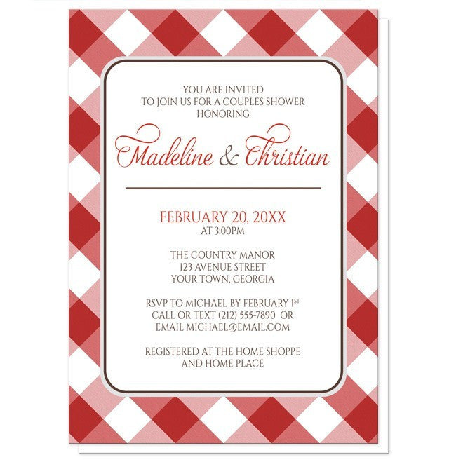 Red Gingham Pattern Couples Shower Invitations - Artistically Invited