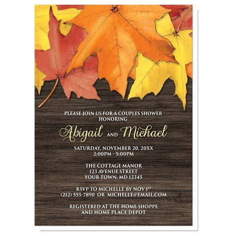 Rustic Autumn Leaves Wood Couples Shower Invitations - Artistically Invited