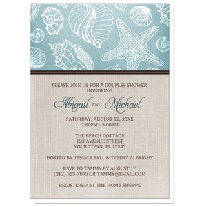 Rustic Beach Seashells Linen Couples Shower Invitations - Artistically Invited