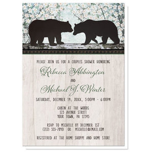 Rustic Bear Floral Wood Couples Shower Invitations - Artistically Invited