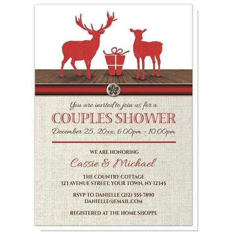 Rustic Deer Burlap Red Holiday Couples Shower Invitations - Artistically Invited