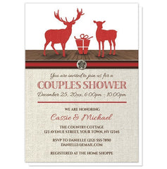 Couples Shower Invitations - Rustic Deer Burlap Red Holiday