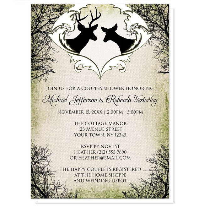 Rustic Deer Frame Canvas Couples Shower Invitations - Artistically Invited
