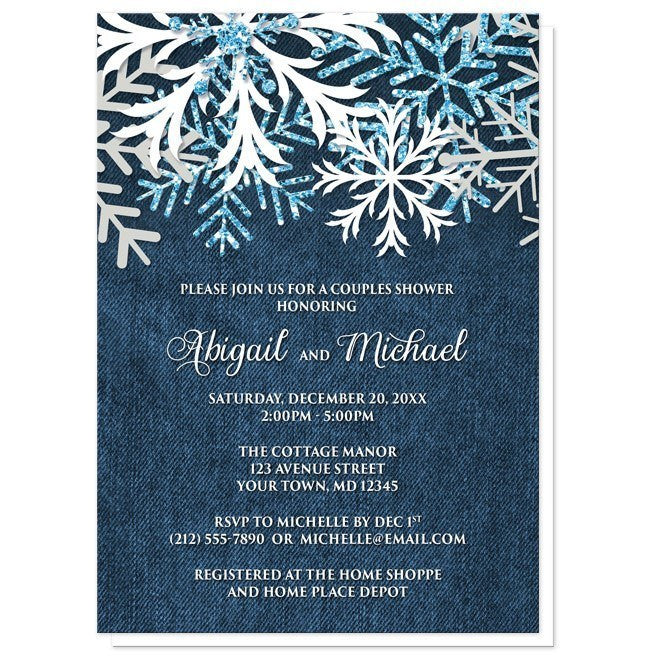 Rustic Snowflake Denim Winter Couples Shower Invitations - Artistically Invited