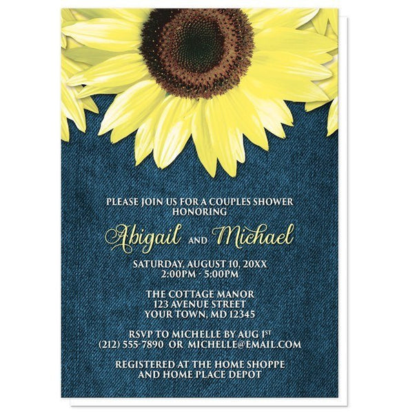 Rustic Sunflower Denim Couples Shower Invitations - Artistically Invited