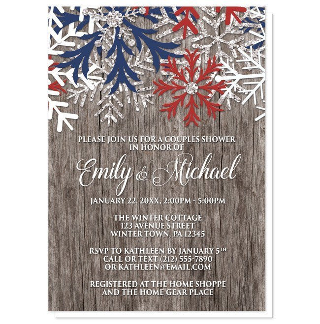 Rustic Winter Wood Navy Maroon Snowflake Couples Shower Invitations - Artistically Invited