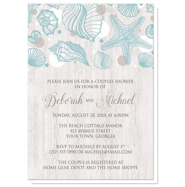 Seashell Whitewashed Wood Beach Couples Shower Invitations - Artistically Invited