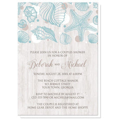 Couples Shower Invitations - Seashell Whitewashed Wood Beach
