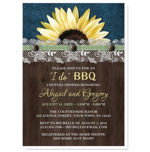 Sunflower Denim Wood Lace I Do BBQ Couples Shower Invitations - Artistically Invited