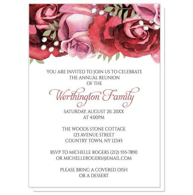 Red Pink Rose Family Reunion Invitations at Artistically Invited – Reunion Party Invitations
