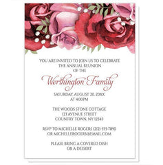 Burgundy Red Pink Rose Family Reunion Invitations