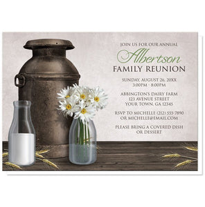 Rustic Country Dairy Farm Family Reunion Invitations - Artistically Invited