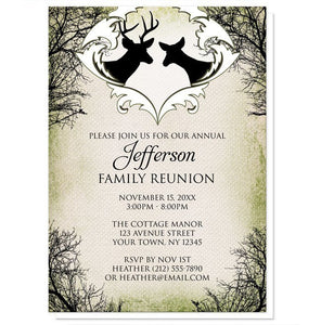 Rustic Deer Frame Canvas Family Reunion Invitations - Artistically Invited