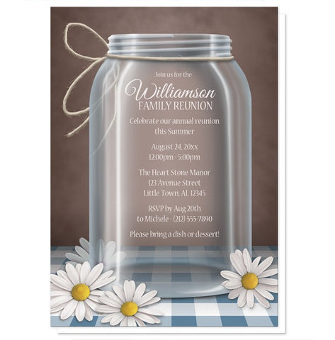 Rustic Mason Jar Daisy Gingham Family Reunion Invitations - Artistically Invited