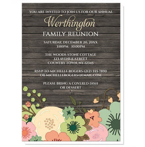 Rustic Orange Teal Floral Wood Family Reunion Invitations - Artistically Invited