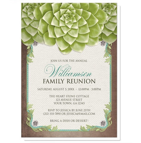 Rustic Succulent Garden Family Reunion Invitations - Artistically Invited