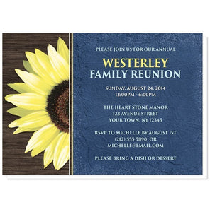 Rustic Sunflower with Blue Family Reunion Invitations - Artistically Invited