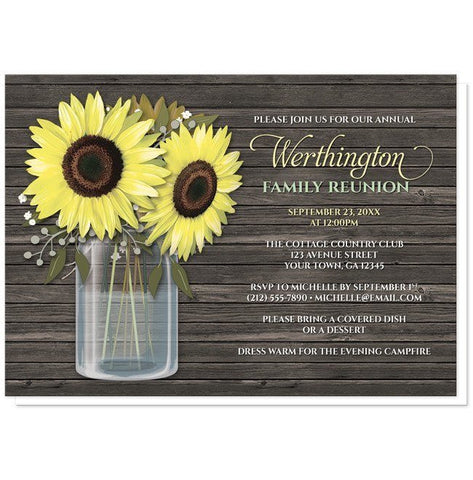 Rustic Sunflower Wood Mason Jar Family Reunion Invitations - Artistically Invited
