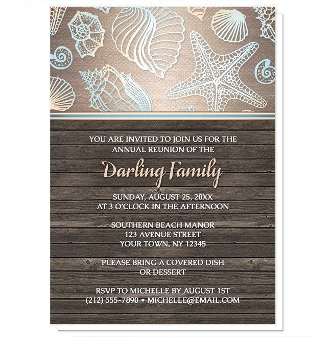 Rustic Wood Beach Seashell Family Reunion Invitations - Artistically Invited