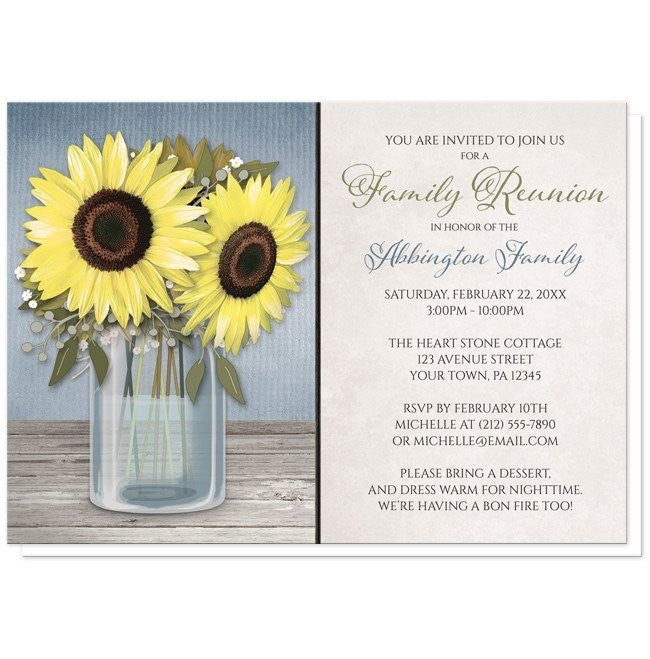 Sunflower Blue Mason Jar Rustic Family Reunion Invitations at  Artistically Invited