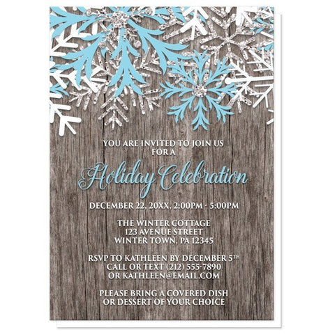Rustic Winter Wood Snowflake Holiday Invitations - Artistically Invited