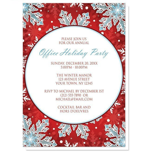 Modern Red White Blue Snowflake Holiday Party Invitations - Artistically Invited