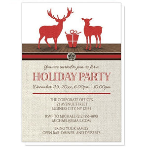 Rustic Deer Burlap Red Holiday Party Invitations - Artistically Invited