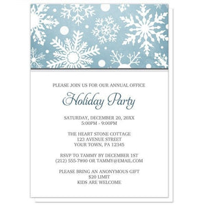 Winter Snowflake Blue Holiday Party Invitations - Artistically Invited