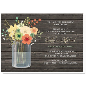 Rustic Floral Wood Mason Jar Housewarming Invitations - Artistically Invited