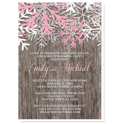 Rustic Winter Wood Pink Snowflake Housewarming Invitations - Artistically Invited