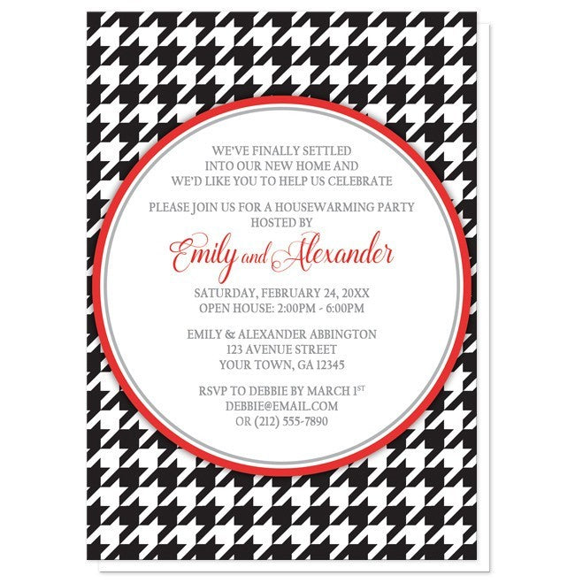 Stylish Black Houndstooth Red Housewarming Invitations - Artistically Invited